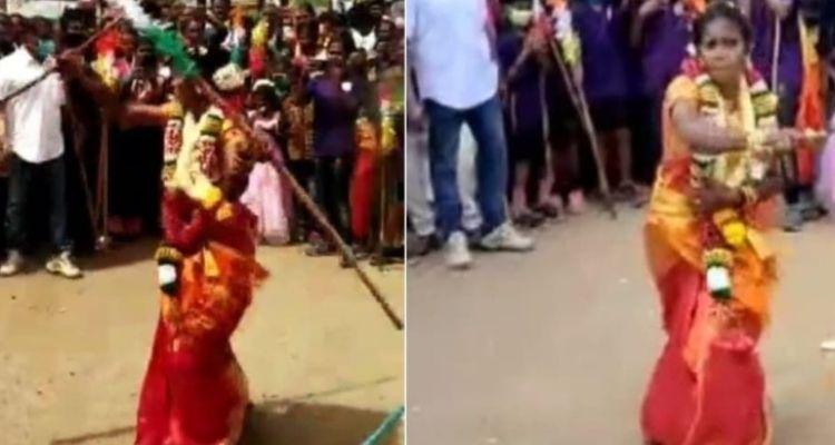22 साल की पी निशा ने शादी के जोड़े में किया मार्शल आर्ट देखें वीडियो