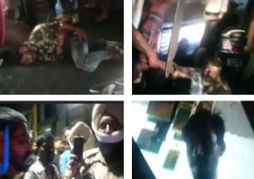 ऊपर जालंधर में लोगों की ओर से पकड़े आरोपियों की पिटाई करते लोग। नीचे पुलिस वीडियो बनाते हुए और तीसरी साथी की लोगों की ओर से शेयर की तस्वीर।