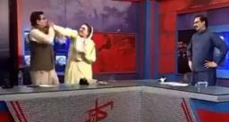 लाइव टीवी शो में पाकिस्तान की मंत्री ने पकड़ा सांसद का कॉलर, मारा थप्पड़