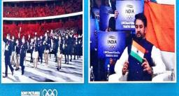 Tokyo Olympics 2021 - ओलंपिक दल का मार्च दौरान टीवी पर आधी स्क्रीन में दिख रहे थे अनुराग ठाकुर, सोशल मीडिया पर भड़के लोग